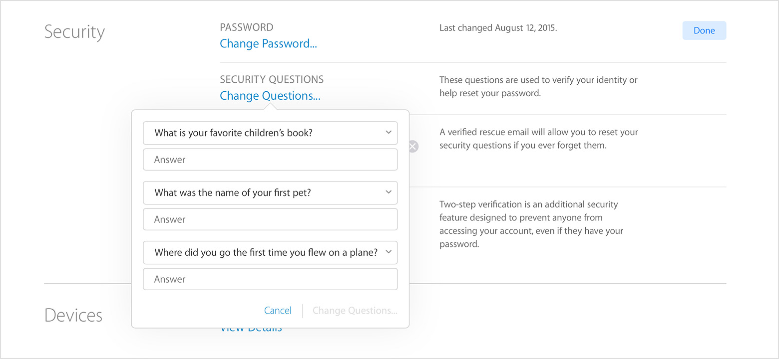 security and your apple id apple support the person who is requesting access to your account if you haven t selected your security questions your apple id account page to set them up