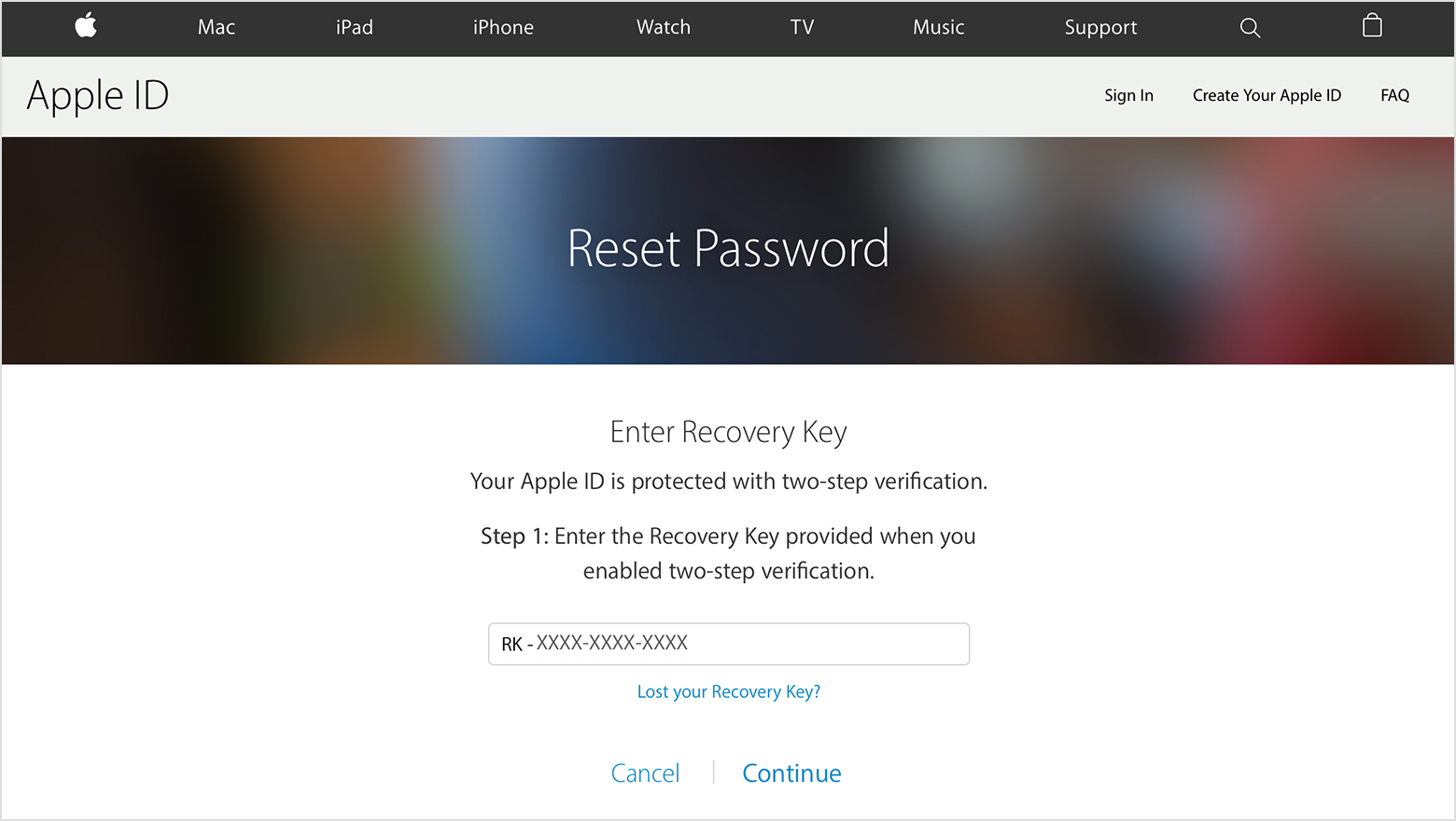 Enter Recovery Key Screen