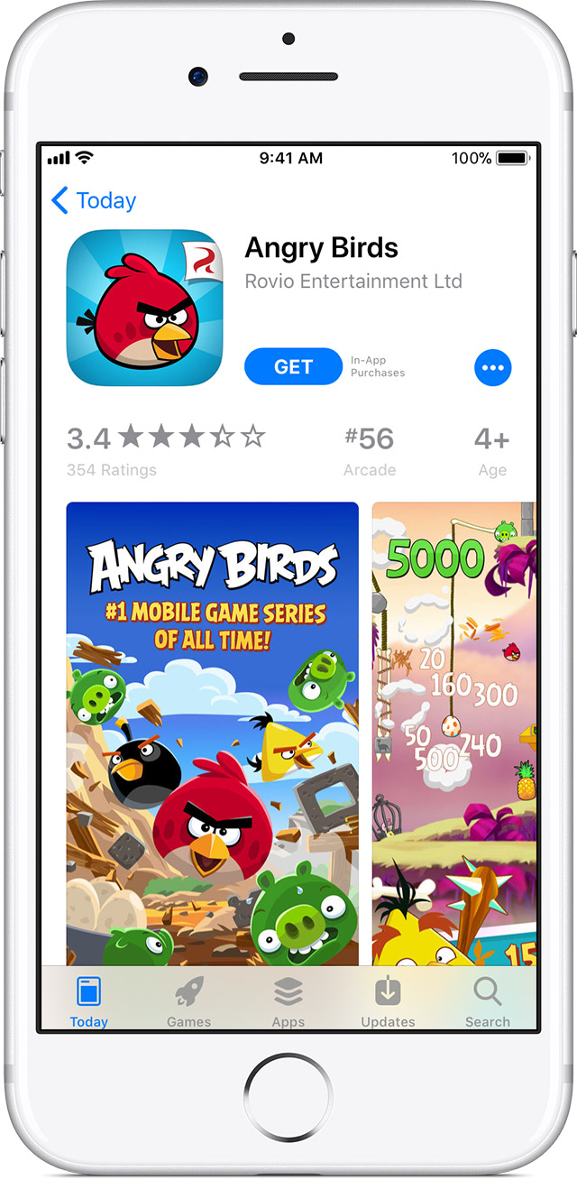 iPhone showing App Store page for Angry Birds app