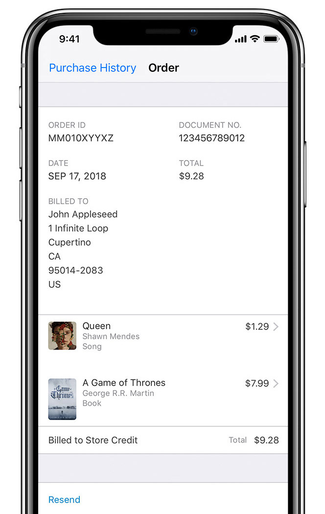 An iPhone X showing a sample invoice.