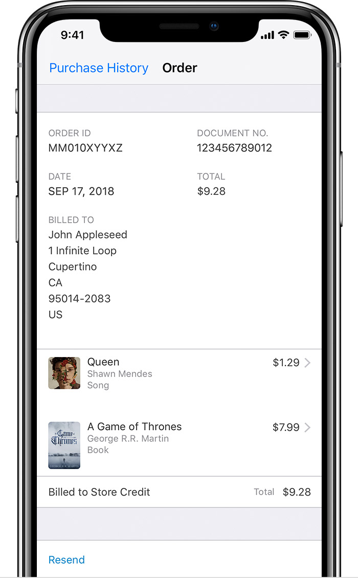An iPhone X showing a sample invoice in Purchase History.