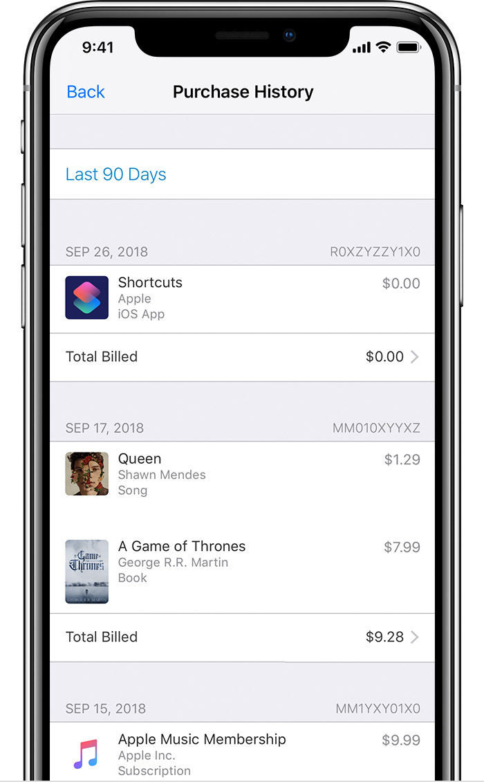 An iPhone X showing a sample Purchase History.