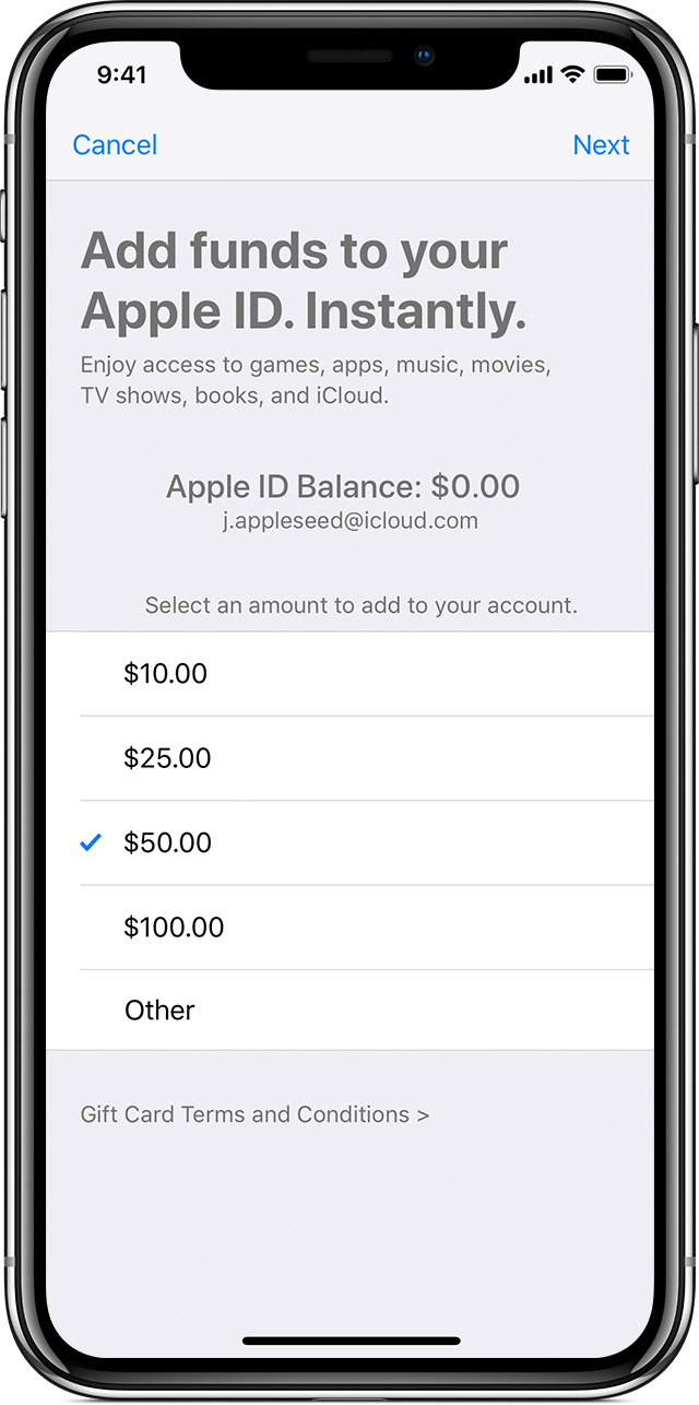 "An iPhone X showing the ""Add funds to your Apple ID."" screen."