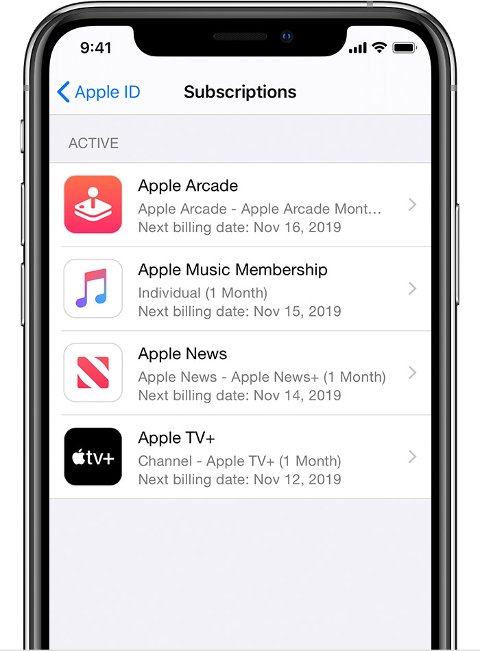 iPhone showing subscriptions including Apple Arcade, Apple Music, and Apple News+. The renewal date is shown for each subscription.