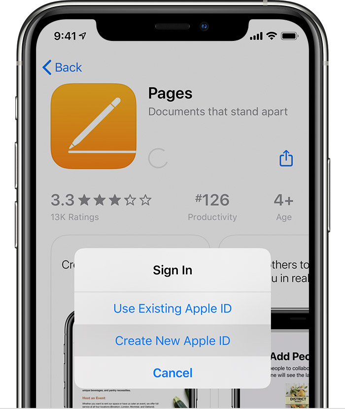 iPhone showing the options to Use Existing Apple ID or Create New Apple ID.