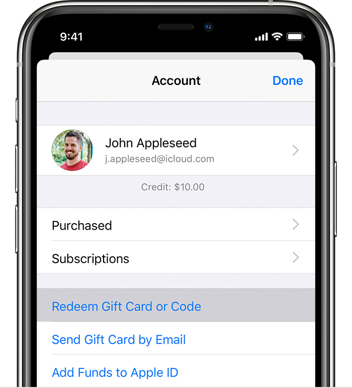 iPhone showing the Redeem Gift Card or Code menu option.
