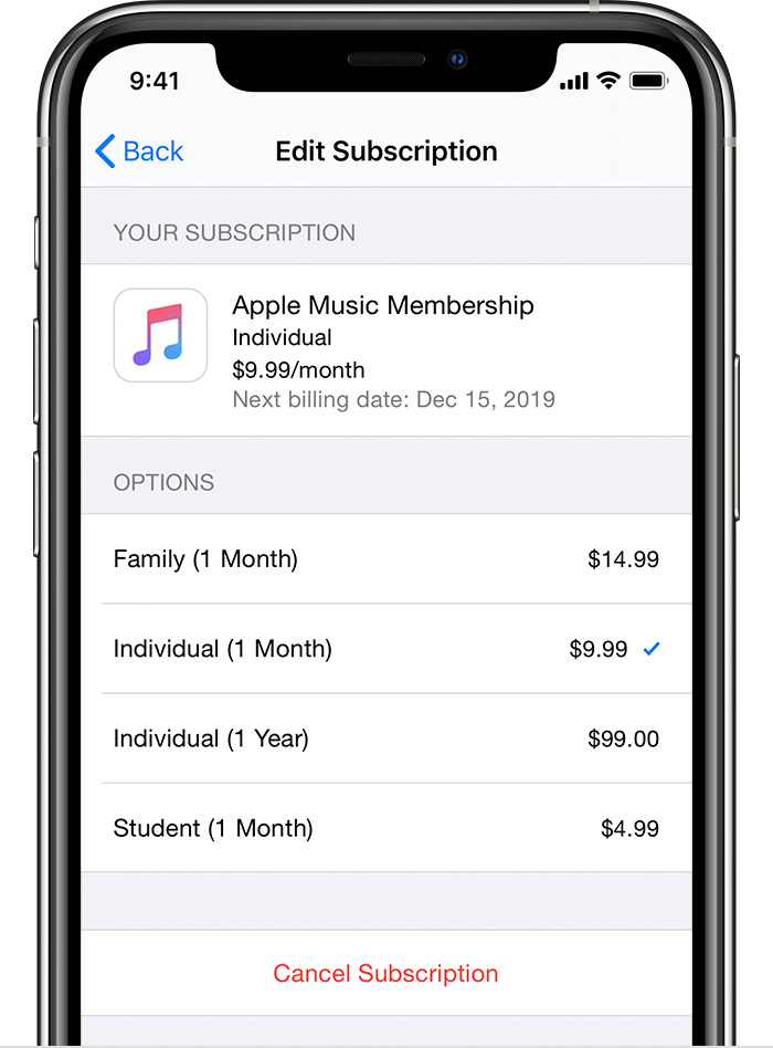 iPhone showing Apple Music subscription options, including family, individual monthly, individual annual, and student.