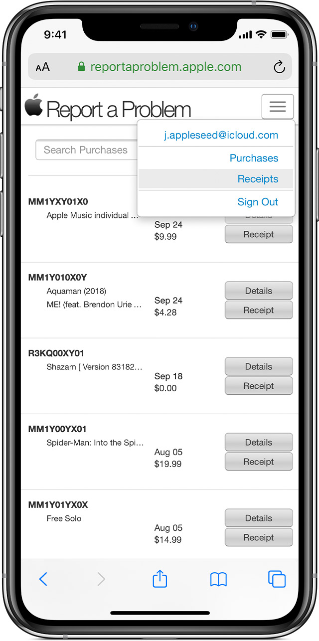 iPhone showing reportaproblem.com, which shows receipts for recent purchases.