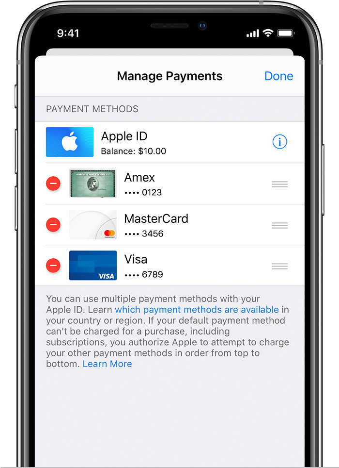 iPhone showing the Manage Payments screen with the remove button next to the credit cards.