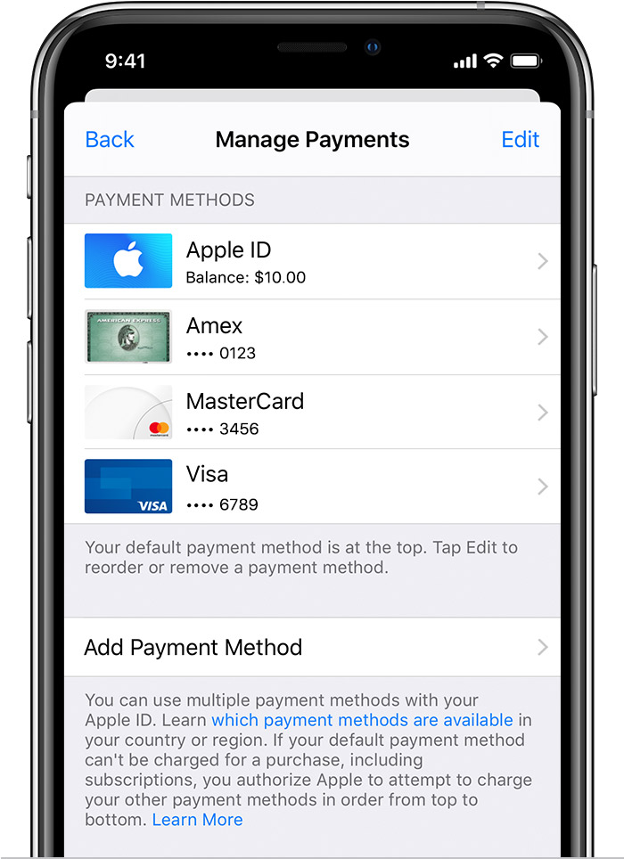 iPhone showing the Manage Payments screen with three credit cards listed.