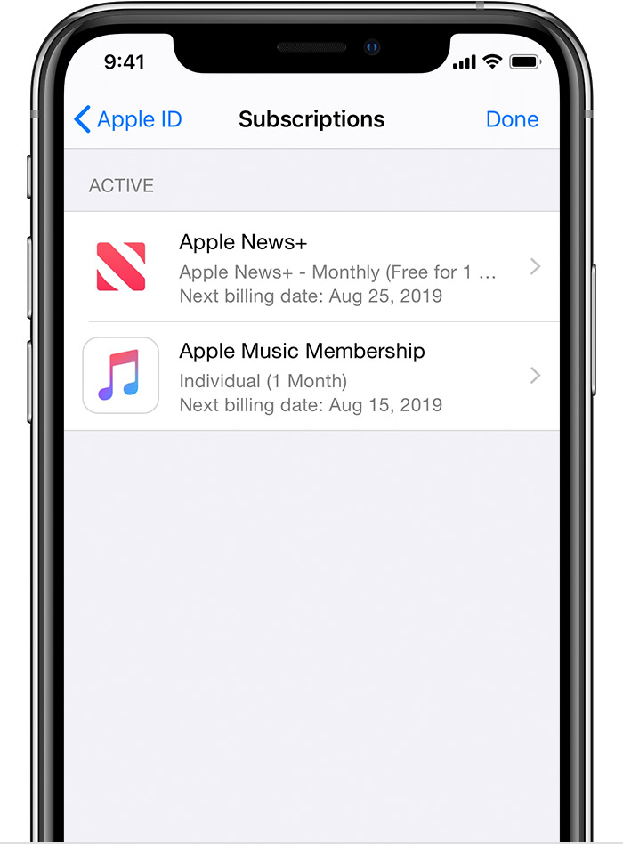iPhone showing subscriptions including Apple News+ and Apple Music.