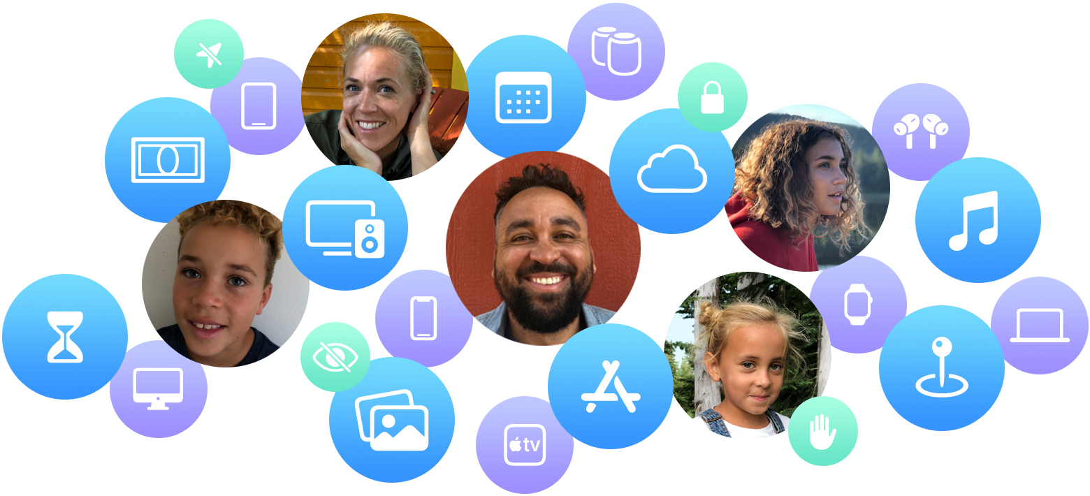 Five smiling family members are shown with icons of iCloud, photos, Apple TV+, and other Apple products and services.