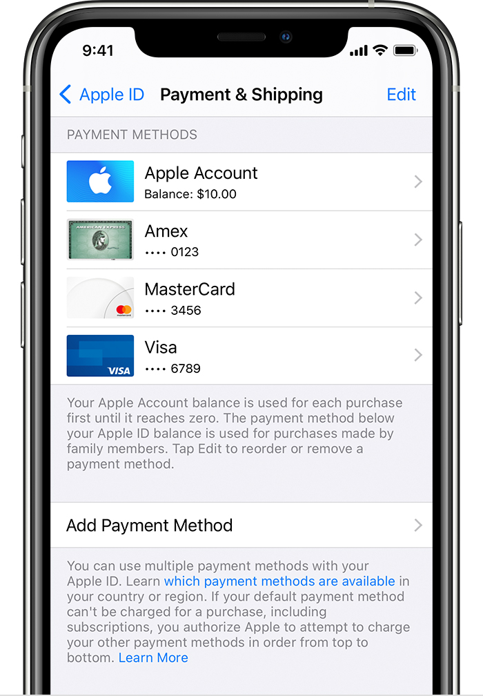 iPhone showing payment methods including Apple ID balance and credit cards.