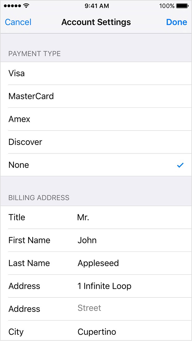 Itunes payment settings