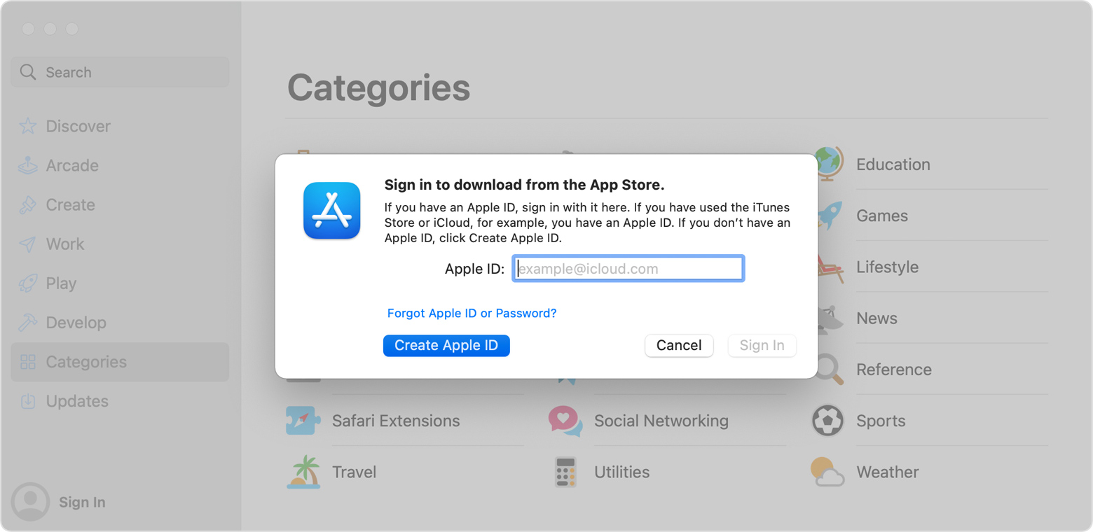 macOS App Store Sign in window with
