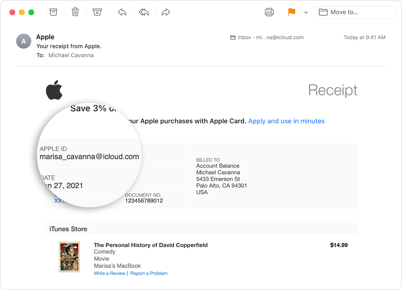Email showing receipt from Apple that includes the Apple ID of the person who made the purchase.