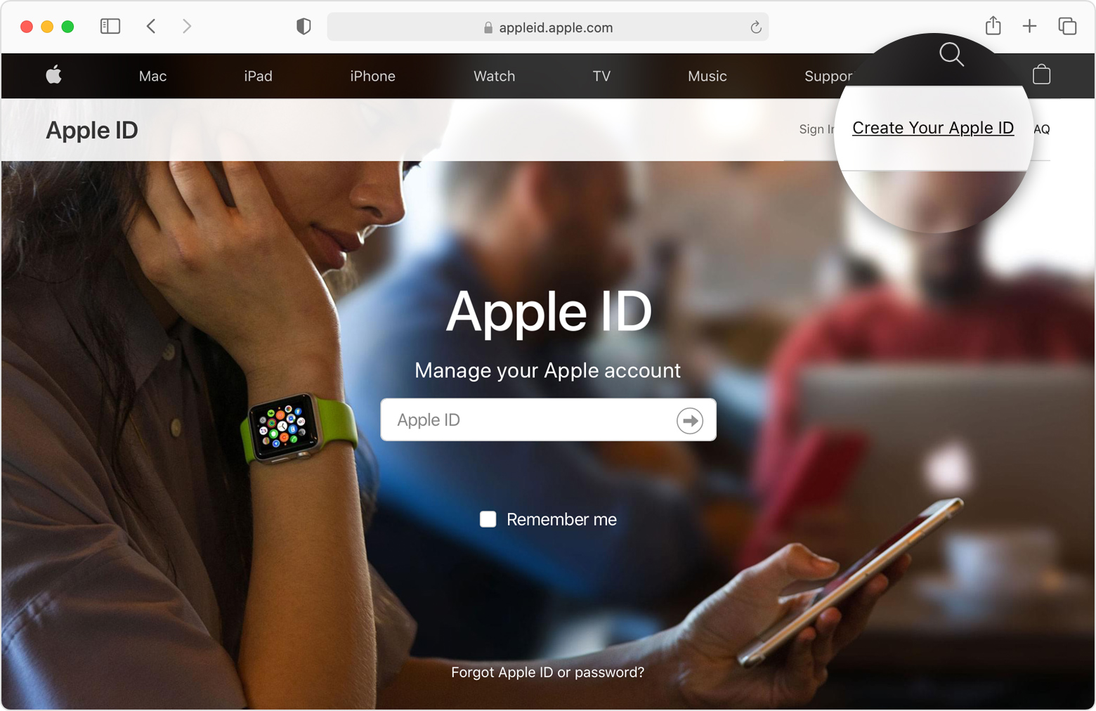 Safari browser window open to appleid.apple.com with the