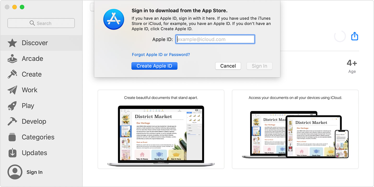 App Store on Mac showing pop-up that asks you to sign in to download.