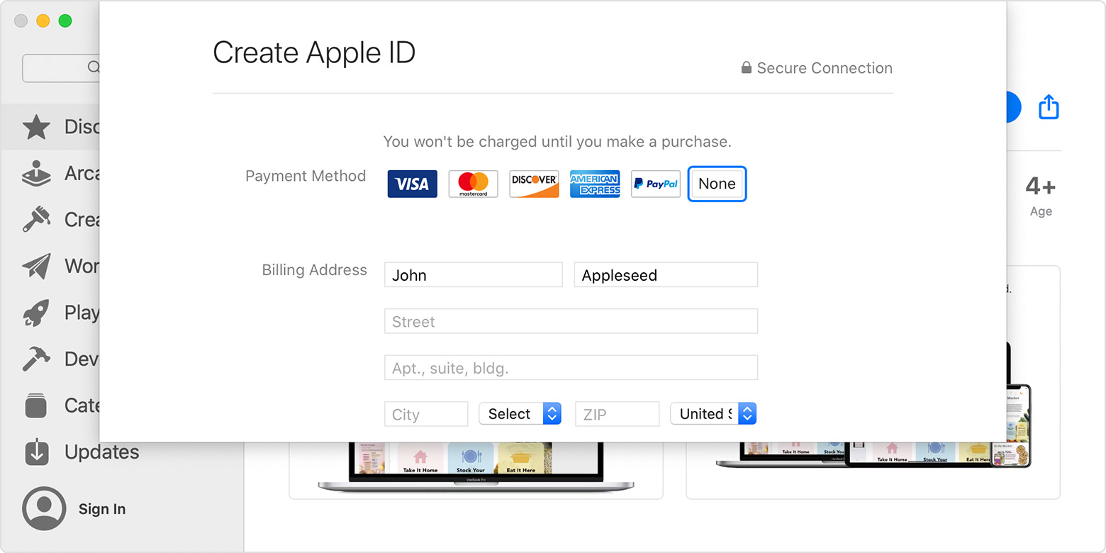 App Store on Mac showing the Create Apple ID page including billing address and payment method.