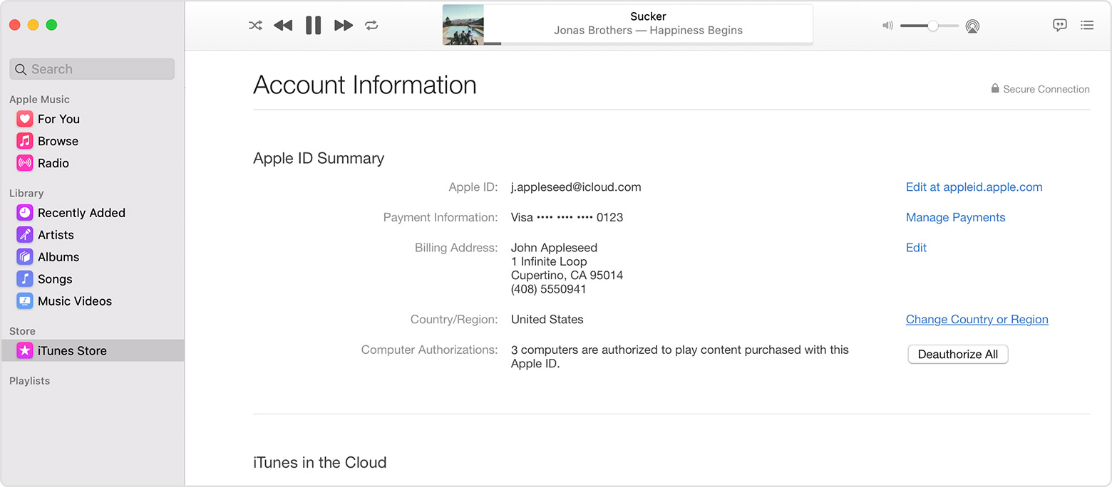 Mac showing the Account Information page.