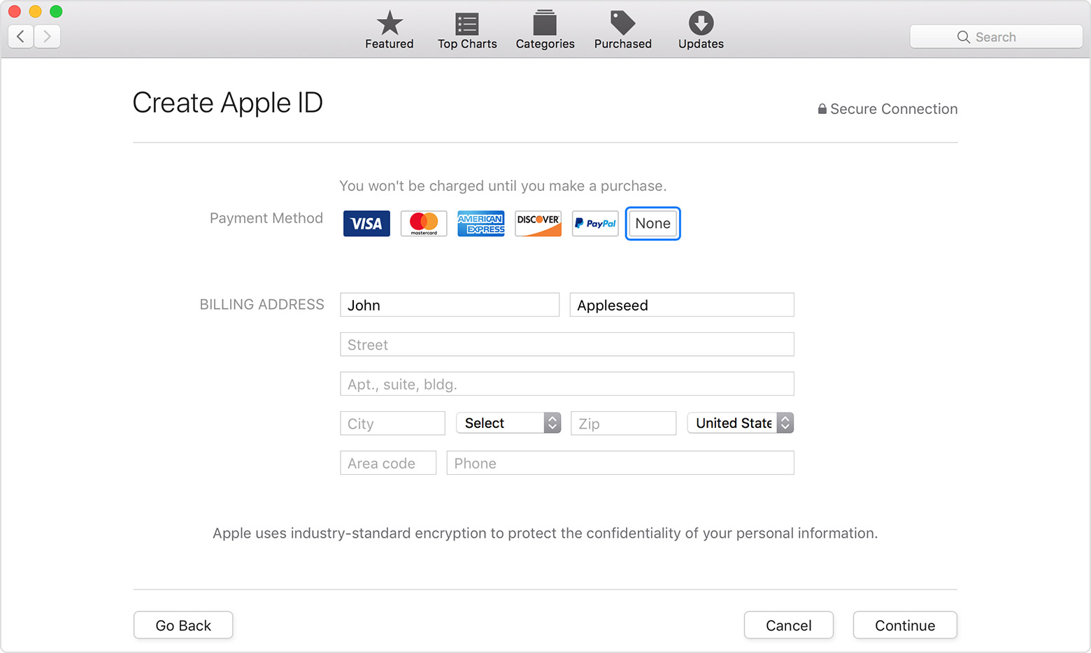 Create Apple ID screen in App Store on Mac