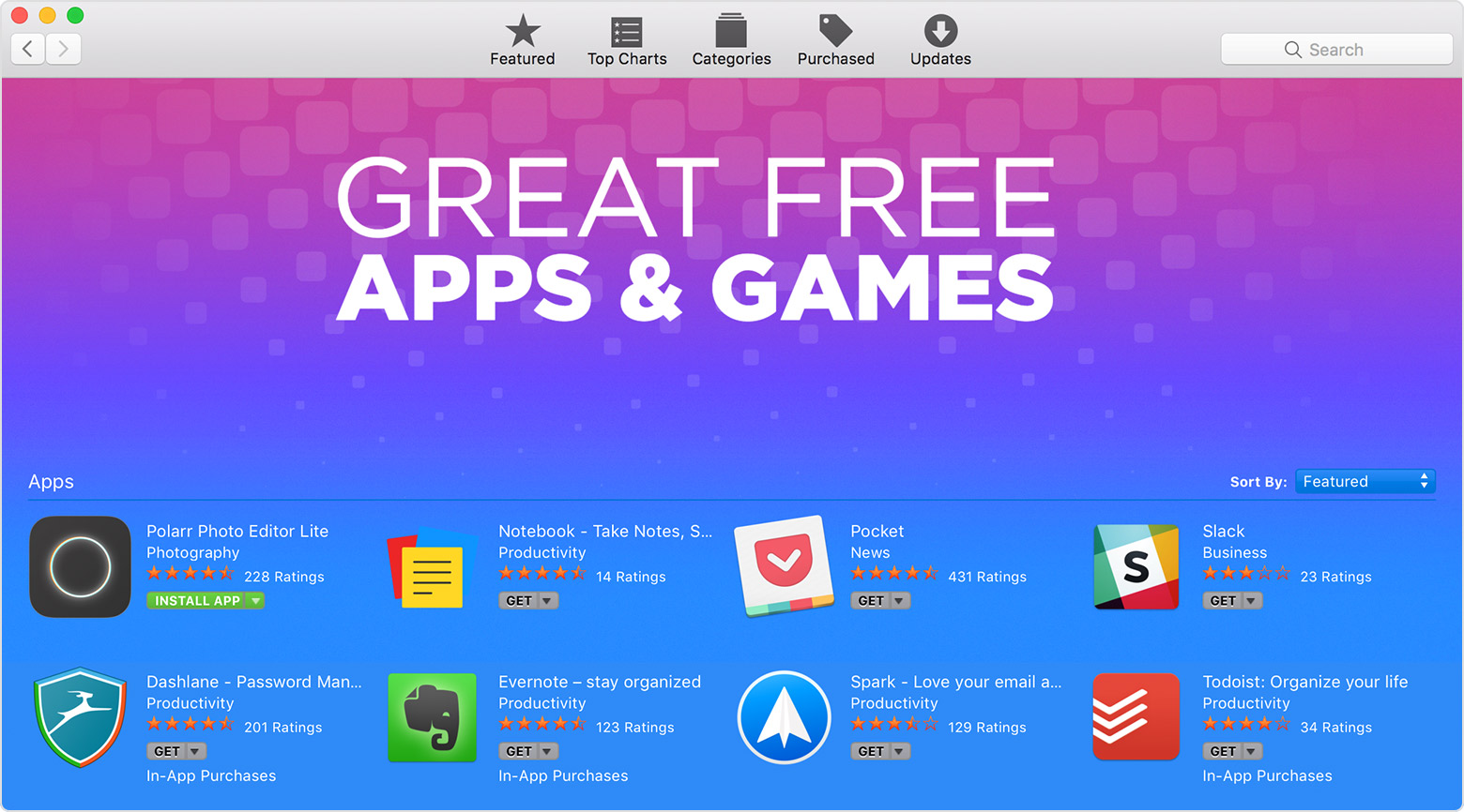 Free Apps and Games section of the App Store on Mac
