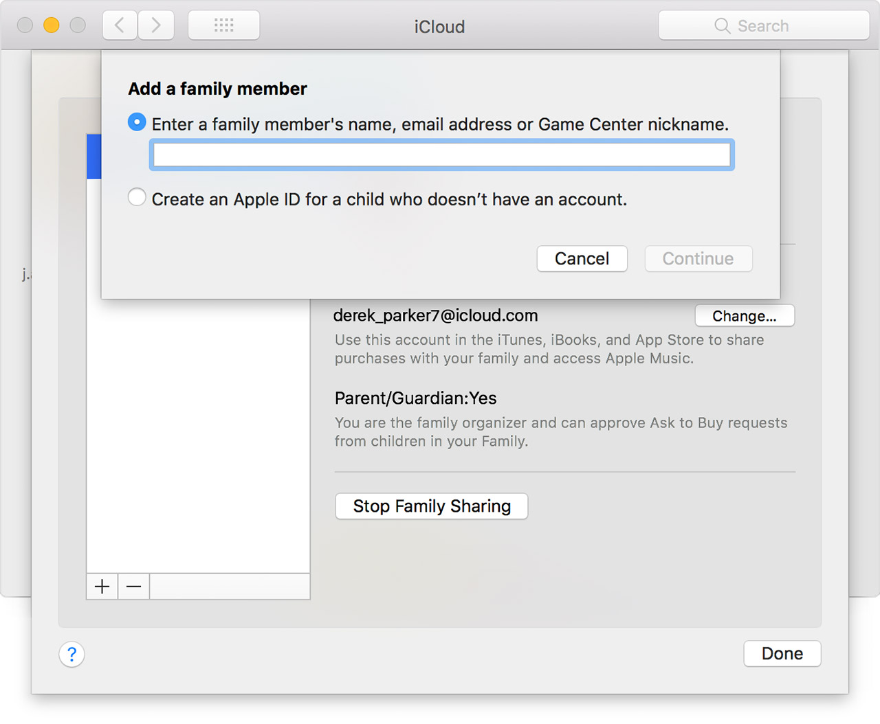 Add a family member screen on Mac