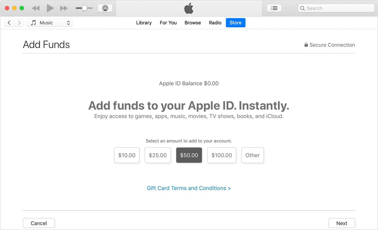 "An iTunes Store window open to the ""Add funds to your Apple ID"" screen."