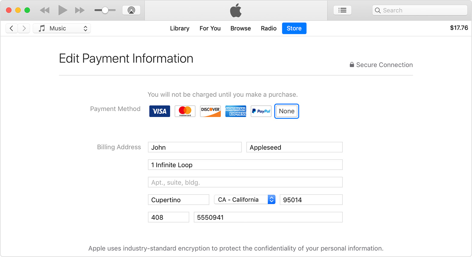 iTunes open to the Edit Payment Information screen in Account Settings. None is selected as the payment method.