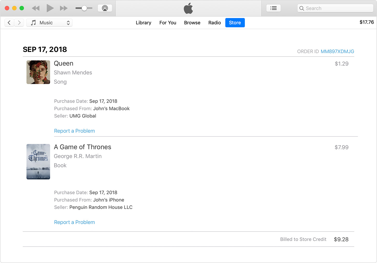 An iTunes windows showing more information about the items in the sample invoice.