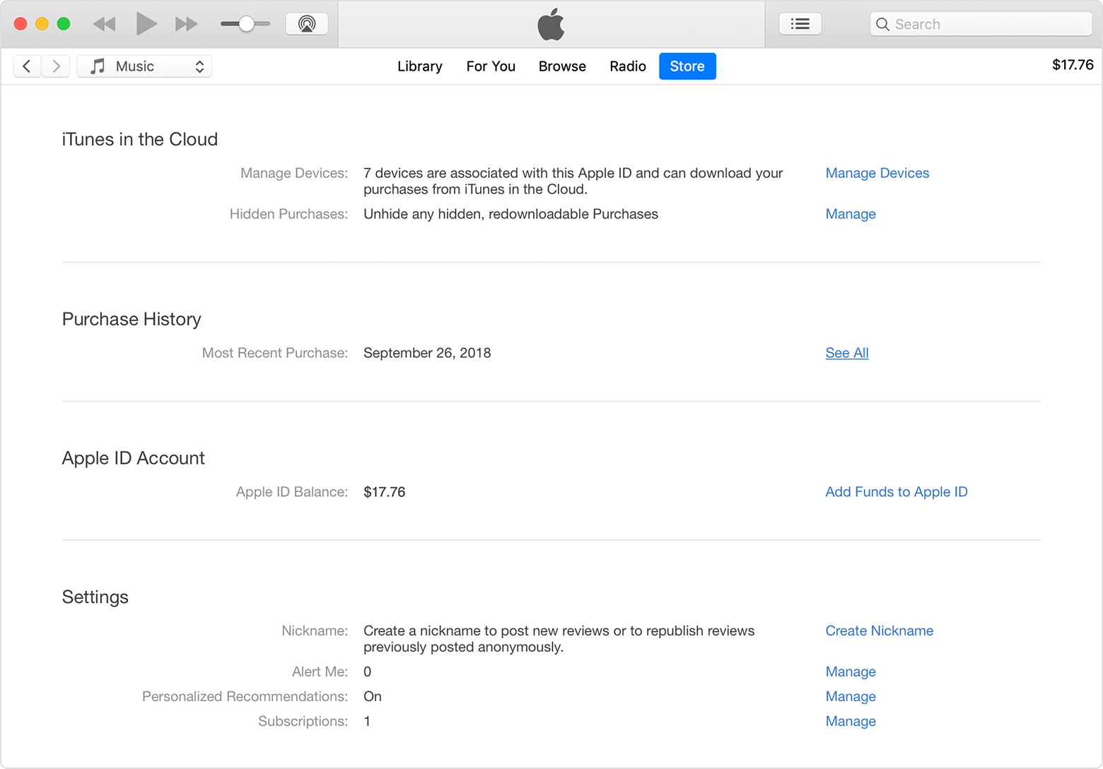 An iTunes window with Account Information showing.