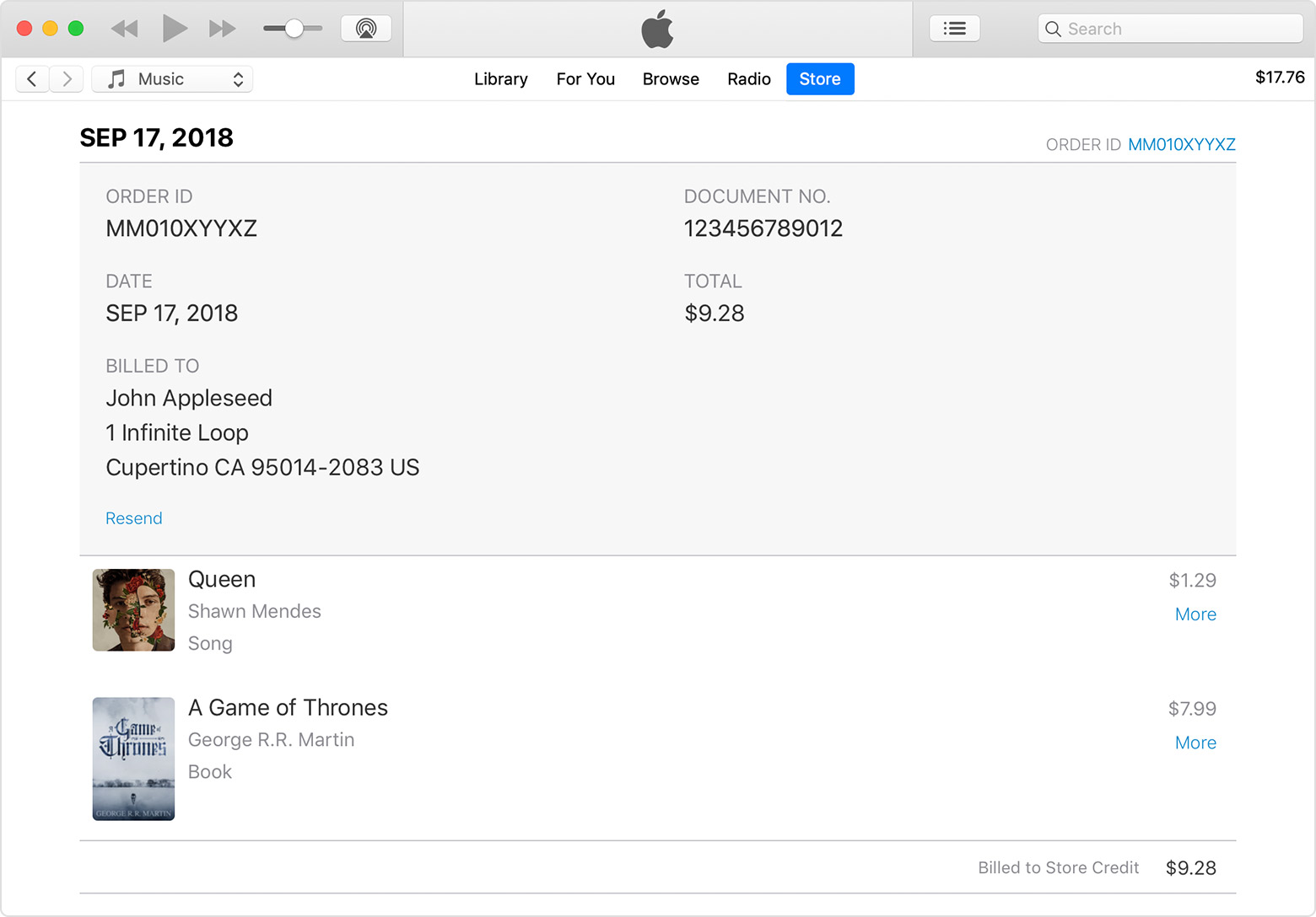 An iTunes window showing a sample invoice in Purchase History.