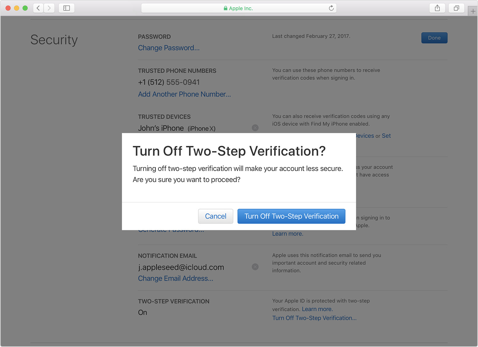 "Apple ID account page showing ""Turn off Two-Step Verification?"" prompt"