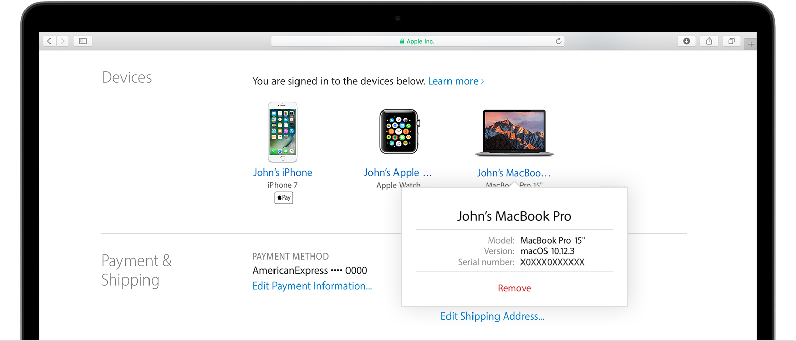 Check your Apple ID device list to see where you're signed in ...