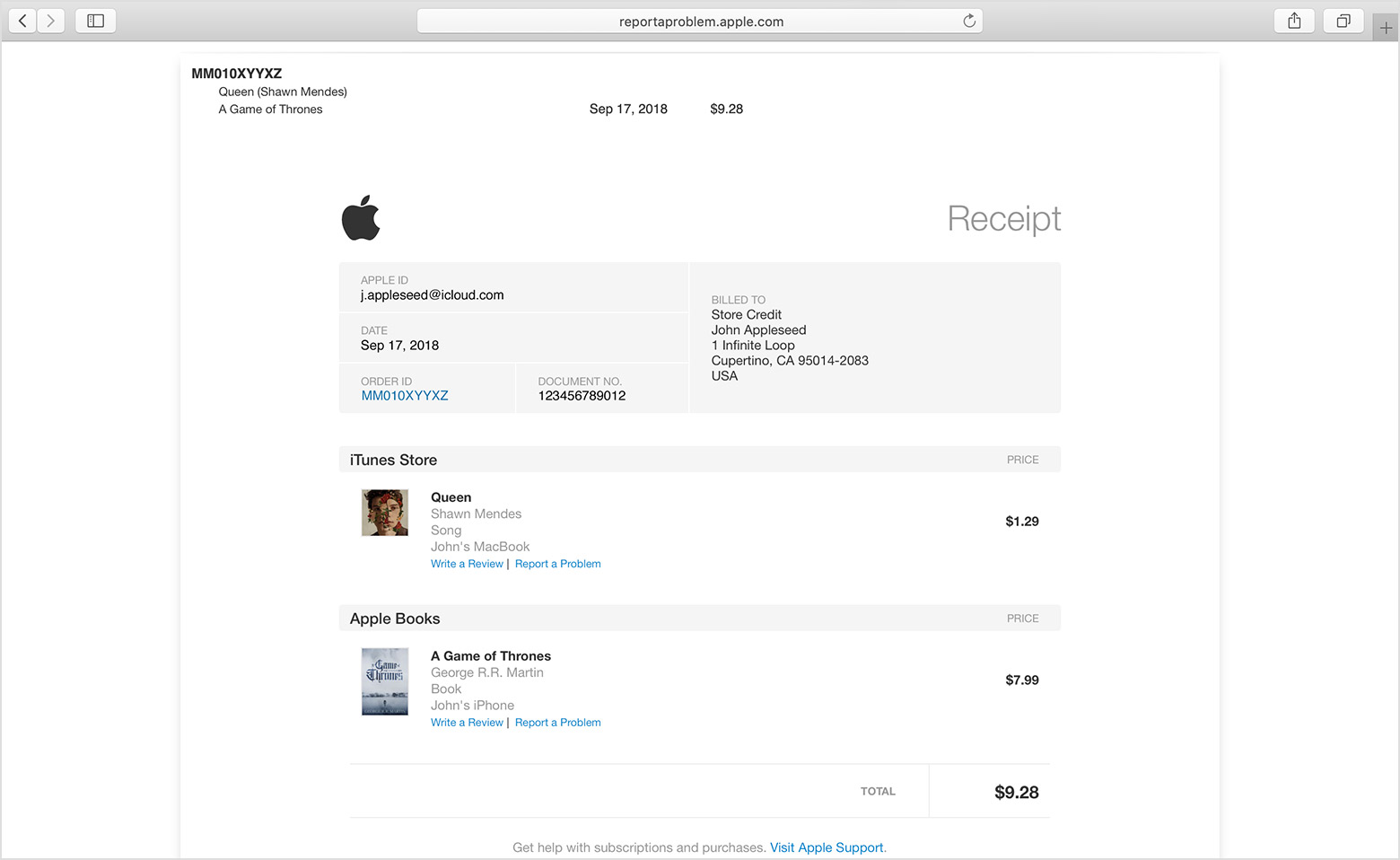A Safari window open to reportaproblem.apple.com with a sample Receipt showing.