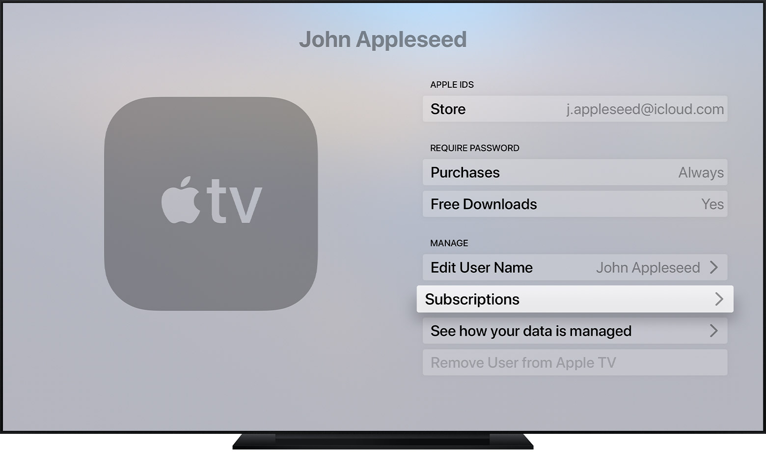 Apple TV showing the Subscriptions button in Settings.