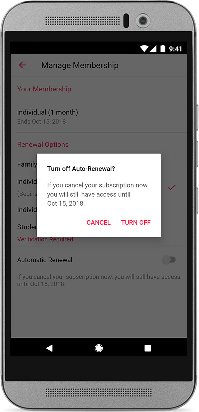 An Android phone showing the Apple Music Membership screen with the Turn off Auto-Renewal dialog.