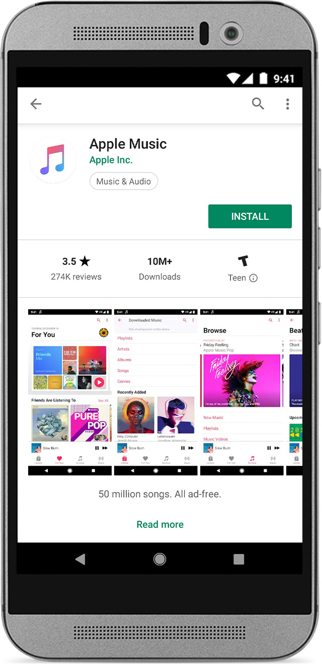 Phone showing the Apple Music app in the Google Play Store.