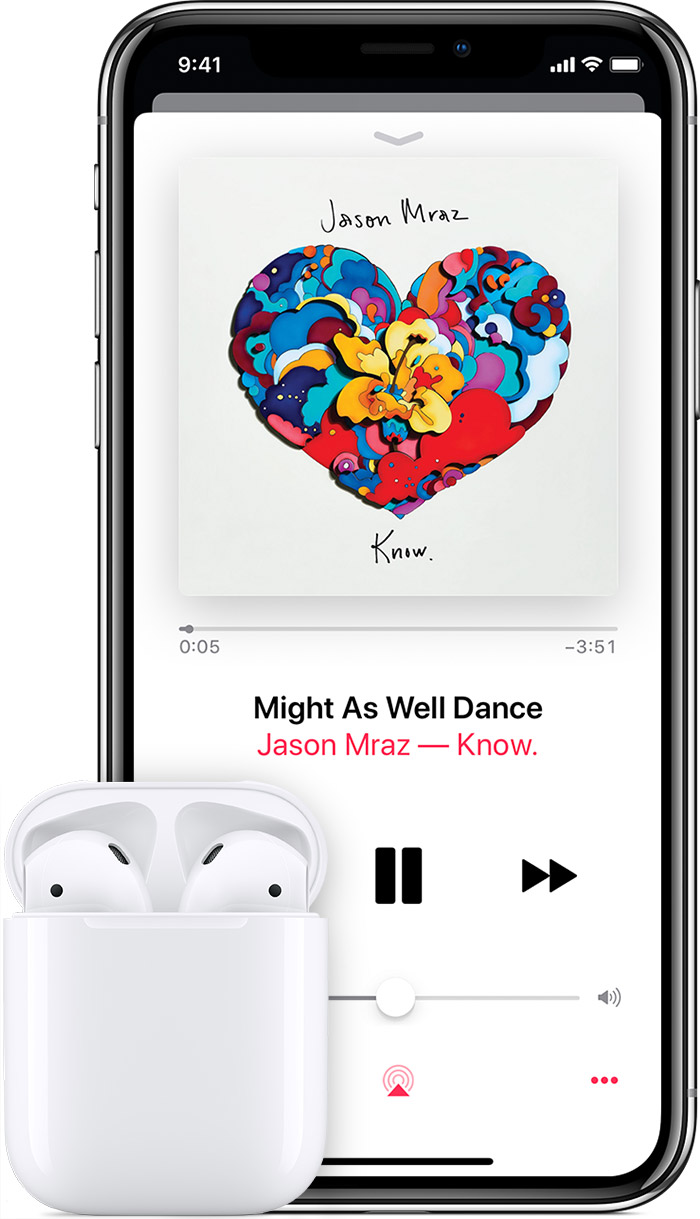 iPhone showing a Jason Mraz song playing, with AirPods nearby.