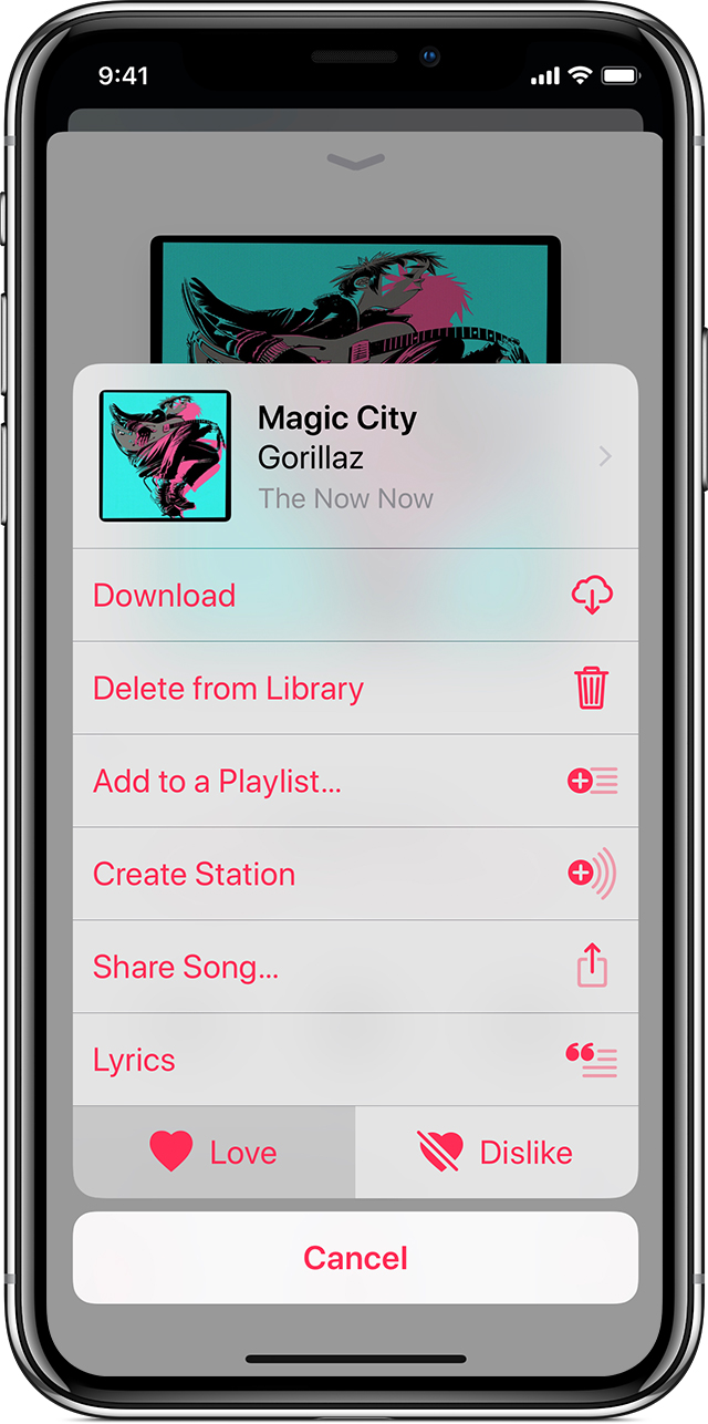 "An iPhone X showing the More Options menu for the song ""Magic City"" by Gorillaz in the Music app."