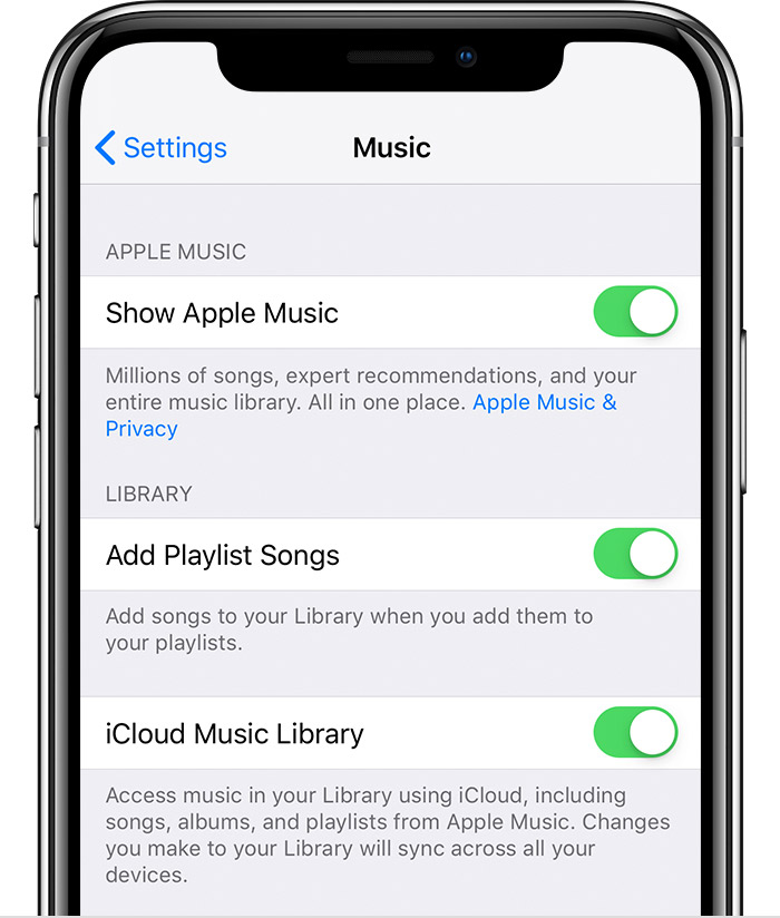 An iPhone X showing Music Settings. iCloud Music Library is turned on.