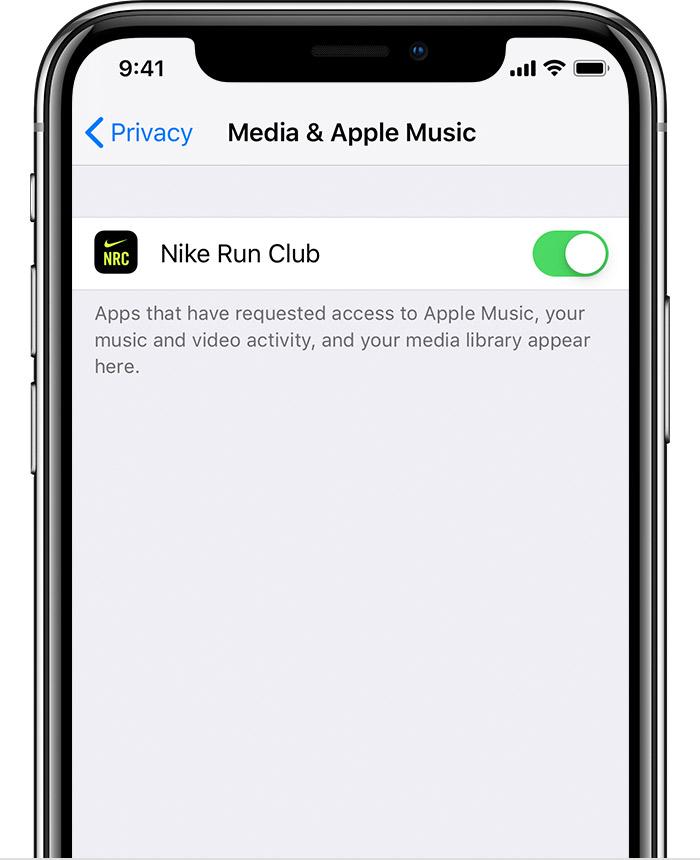 An iPhone X showing the Media & Apple Music section of Privacy settings. Nike Run Club's access is turned on.