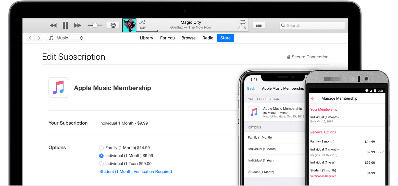 Mac, iPhone, and Android phone showing where you can manage your Apple Music subscription.