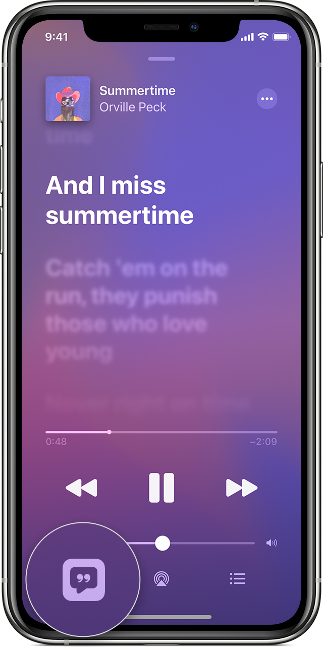 iPhone showing lyrics to a song and the Lyrics button in the lower-left corner