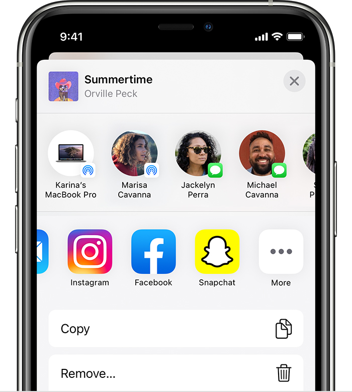 iPhone showing Instagram, Facebook, and Snapchat in the share sheet.