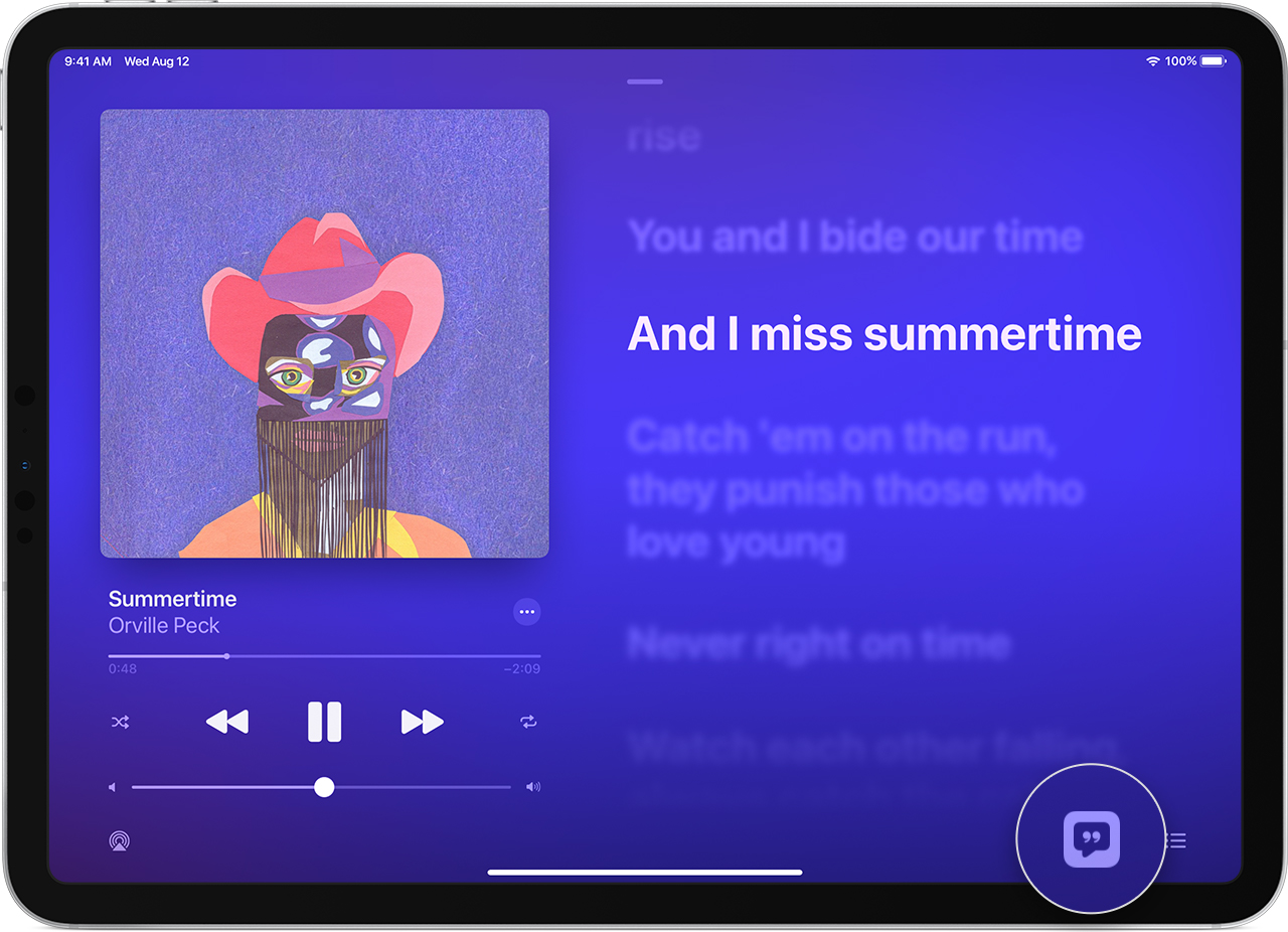 iPad showing lyrics to a song and the Lyrics button in the lower-right corner