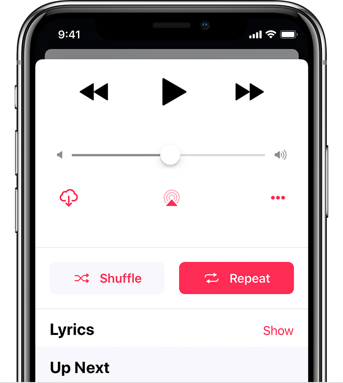 An iPhone X with Now Playing open. Repeat is turned on.