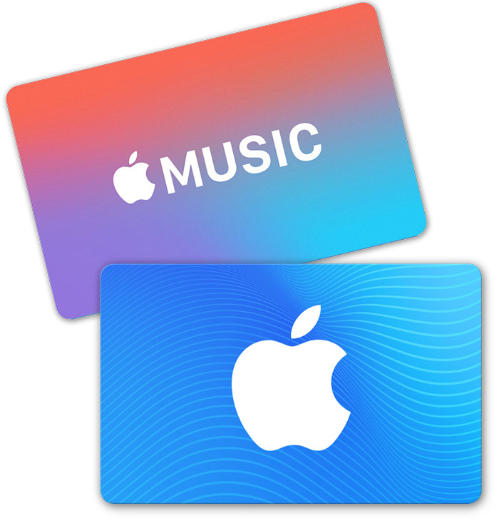 An App Store & iTunes gift card and an Apple Music gift card.