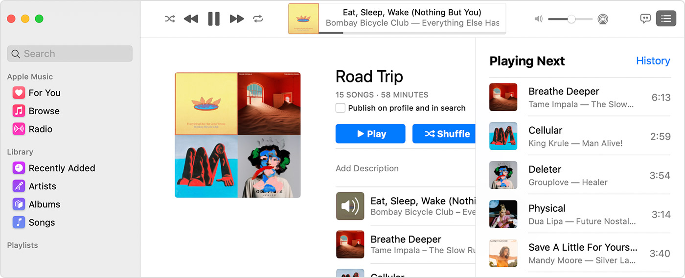 Add music to your queue to play next