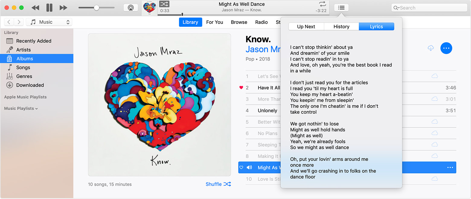 a7c6703826a07 An iTunes Window with the lyrics menu open to the lyrics for the Jason Mraz  song